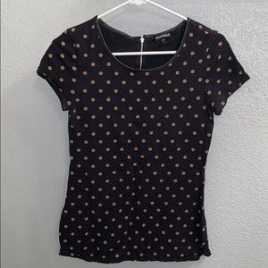 Express polka dot top with leather trim detail